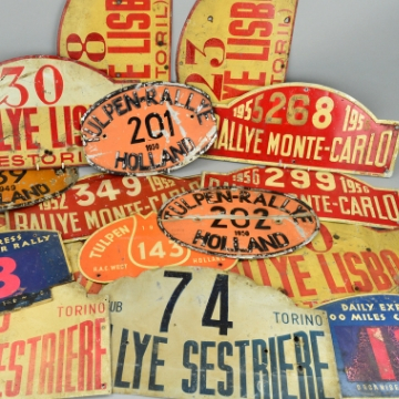 Champion racing driver's rally plates up for auction