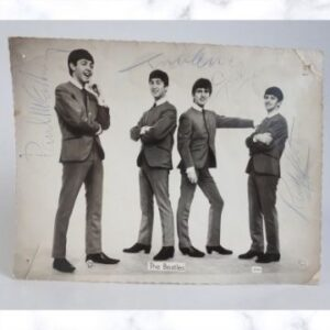 A Beatles photograph signed by John, Paul, George and Ringo during a break in filming at a Birmingham television studio. The photo will go under the hammer as Lot 372 in Richard Winterton Auctioneers' Antiques & Home Sale on Monday, April 12.