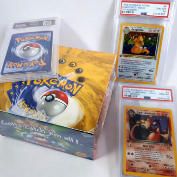 Pokémon 25th anniversary auction with PSA Gem Mint 10 1st edition cards, unopened Base Set Booster Box and Booster Packs