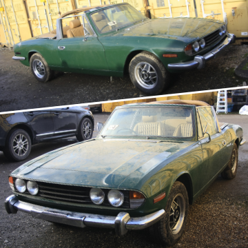 Triumph Stag V8 sports car found in barn comes to auction in Lichfield