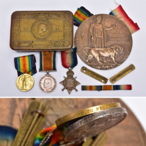 Lot 233 A group of WW1 1914-1915 Star British War and Victory medals named to 8870 Private W Dobson together with a Memorial Death Plaque named William Dobson, two brass Wound Stripes with backings for uniform wear and spare ribbons and a 1914 Princess Mary tin (no contents).