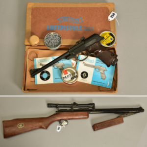 Airguns in the sale include a .22 model 342 pump action Benjamin air rifle (Lot 252) and a .177 Walther model LP53 air pistol in its original carton (Lot 259).