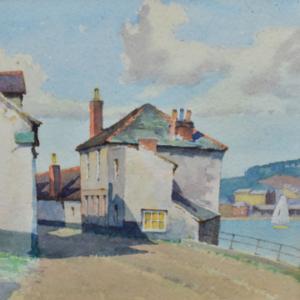 Lot 360: A Cornish village scene by James Marshall Heseldin.