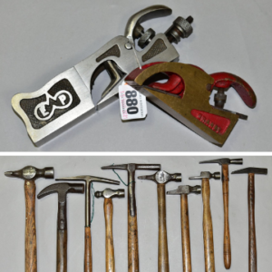 Top: A Preston No. 311 bull-nosed plane with a Granby bull nosed plane. Bottom: 10 specialist hammers.