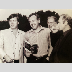 Craig Thomas on the set of Firefox with actors Warren Clarke and Kenneth Colley. Photo courtesy of the Estate of Jill Thomas