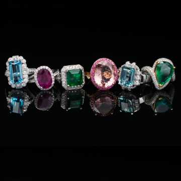 Fine jewellery: Designer rings with natural ruby, aquamarine and emerald stones