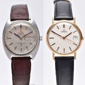 Left: Lot 143, an Omega Constellation, sold for £400, and Lot 145, a 9ct gold Omega, sold for £440.