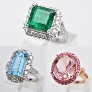 Three stunning designer rings in Richard Winterton Auctioneers' Antiques & Home Sale on Monday, April 12. The impressive trio are graced with natural stones, clockwise from top: a 4.74ct Colombian emerald emerald and diamond cluster ring, a 12.5ct Brazilian morganite, diamond and pink sapphire dress ring and a 5.67ct Brazilian aquamarine and diamond rectangular cluster ring.