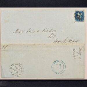 Stamps & Postal History Sale Thursday May 13 2021 An original 1840 Twopenny Blue used to post a letter to Hawkshead. The stamp bears an 1844 frank, with markings for Keswick sorting office and a back-stamp for Ambleside on the wrapper.