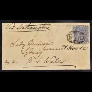 Stamps & Postal History Sale Thursday May 13 2021 This 1857 sixpenny lilac on azure paper spent 10 weeks at sea as it was used to post a letter from Windermere all the way to Sydney.