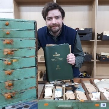 Watch specialist Ben Winterton with some of the horological haul.