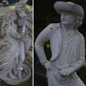 The sale features a selection of stone and composite statues.