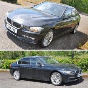 A 2014 BMW 320D luxury four door saloon car with full black leather interior, 1995cc diesel engine and six speed manual gearbox. Est. £4,000-£5,000. Lot 1001:A BMW 320D four door saloon.