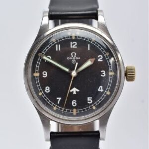 A stainless steel British Military Omega Royal Air Force pilot's wristwatch, circa 1953. Reference 2777, calibre 283. Lot 121 est. £1,400-£1,800 Lot 121: A British Military Omega RAF pilot's wristwatch.