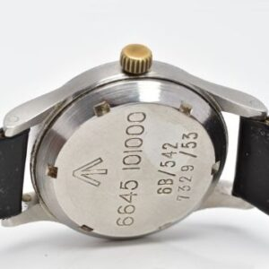 A stainless steel British Military Omega Royal Air Force pilot's wristwatch, circa 1953. Reference 2777, calibre 283. Lot 121 est. £1,400-£1,800 The Royal Air Force Omega watch was made under strict specifications from the British MOD.