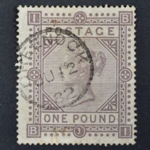 This 1867 £1 brown lilac stamp made £750.