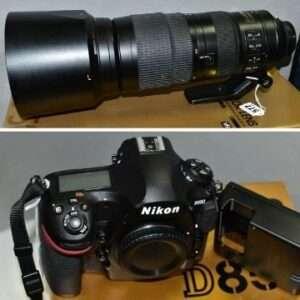 A Nikon 200-500mm f5.6 NIKKOR zoom lens (Lot 577 est. £600-£700) and a Nikon D850 full frame 45.7 megapixel camera body (Lot 578 est. £1,000-£1,500). Both boxed. Lots 577 and 578: A Nikon 200-500mm f5.6 lens and a Nikon D850 camera.