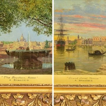 Two oil paintings by Antonietta Brandeis - 'The Fountain, Rome' and 'Grand Canal, Venice'