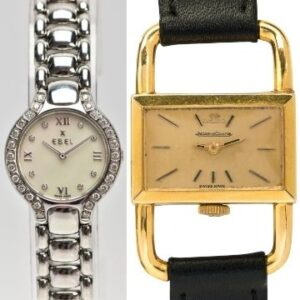 Monday 5th July 2021 Left: Lot 141, a lady's Ebel Buluga steel and diamond wristwatch (est. £600-£800). Right: Lot 142, a lady's 18ct gold Jaeger-LeCoultre Hermes watch (est. £300-£400).