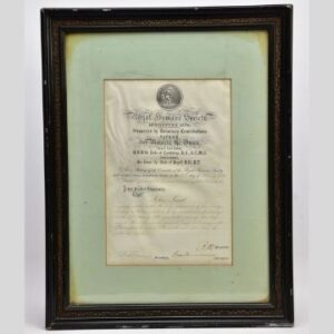 Militaria, Guns & Weapons auction Tuesday, June 15 The vellum certificate awarded by the Royal Humane Society to brave publican John Lamb.