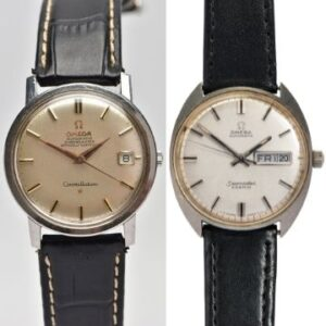 Monday 5th July 2021 Left: Lot 137, an Omega Constellation chronometer (est. £400-£600). Right: Lot 146, an Omega Seamaster Cosmic (est. £200-£300).