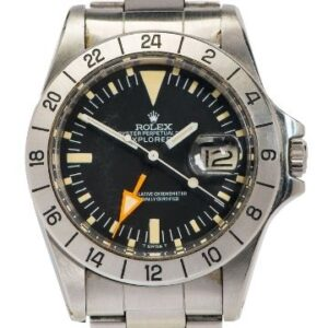 Monday 5th July 2021 The 1973 stainless steel Rolex Explorer II has a distinctive orange 24 hour hand, originally intend to help the intrepid wearer keep track of day and night in lieu of the sun.