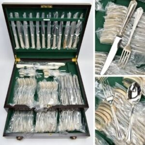 Lot 204 is a 115-piece canteen of silver cutlery for 12 covers in nearly new condition, hallmarked for John B Chatterley & Son Ltd, Sheffield 1987, 1988 and 1989.