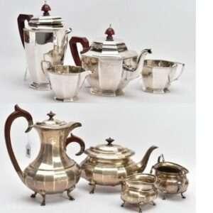 A George VI silver four-piece tea set (top) and a four-piece George V silver tea set. Lot 84 (top) and Lot 92.